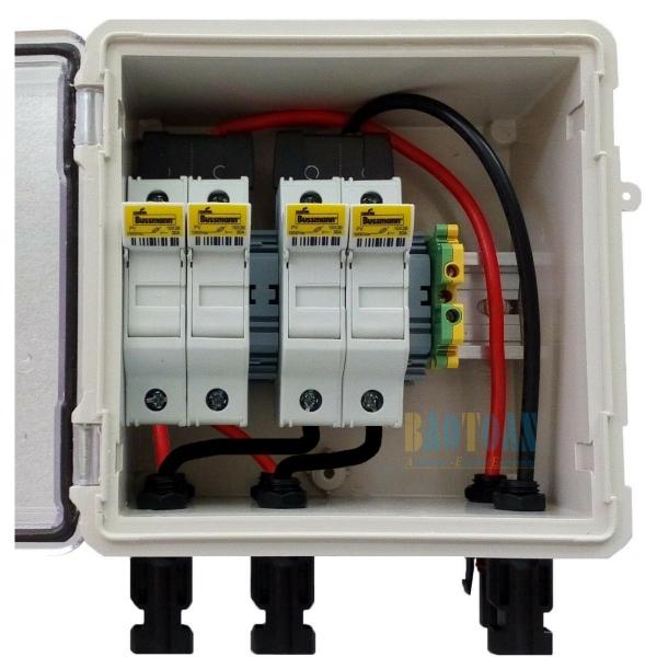 Tủ điện DC Solar 2-String với 4 cầu chì – Có dây sẵn